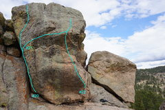 Rock Climbing Photo: Topo of routes #20 through #22.