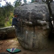 Rock Climbing Photo: Upside Down V1, after traversing in from The Bucke...