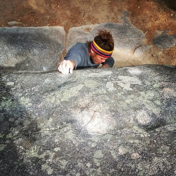 Rock Climbing Photo: Latching on to the pebble shaped like a tootsie ro...