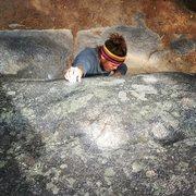 Rock Climbing Photo: Latching on to the pebble shaped like a tootsie ro...