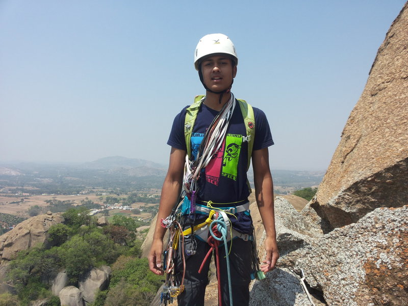 Bharath's debut into trad/outdoor climbing at just shy of 17 years of age, 23 March 2017. He has been one of India's top competition climbers