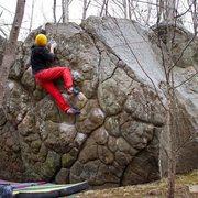 Rock Climbing Photo: Jordan Hyzer hitting the top jugs on Bubble Wrap (...