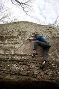 Rock Climbing Photo: Garrett on Seams Easy (V5)