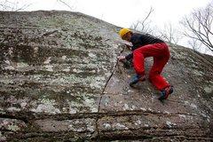 Rock Climbing Photo: Jordan cranking on Seams Easy (V5)