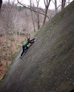 Rock Climbing Photo: Spenser Garcia nearly the top just before the snow...