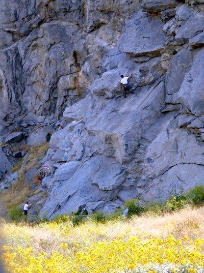 Climbers on Schoolhouse Rock (5.8), Riverside Quarry