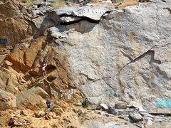 Rock Climbing Photo: Climbers on Fun Factory (5.9 R), Riverside Quarry