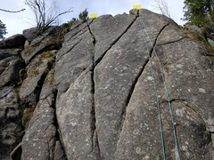 Rock Climbing Photo: Left to right: X Crack left finish, X Crack right ...