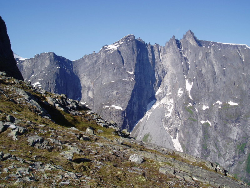 Rock Climbing Photo: Troll Wall - Center-Left side (from the ridge on R...