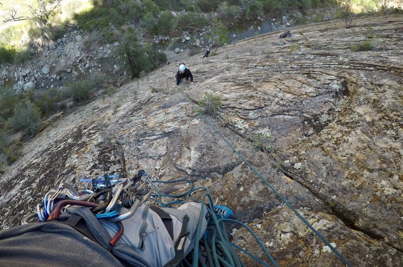 Rock Climbing Photo: Looking down the first pitch of Pine to Pine.