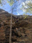 Rock Climbing Photo: Kevin gets horizontal on 1865
