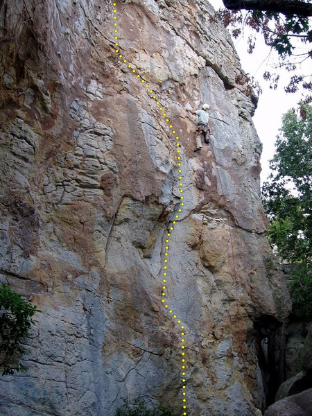Pictured climber is on Misty. First Black in Space is the flake immediately left of the climber.