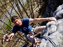 Rock Climbing Photo: Is that relief or fear in his eyes?