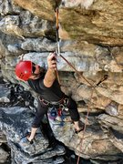 Rock Climbing Photo: Stretching for the last clip