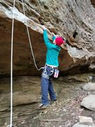 Rock Climbing Photo: Low roof traverse off a stick clip