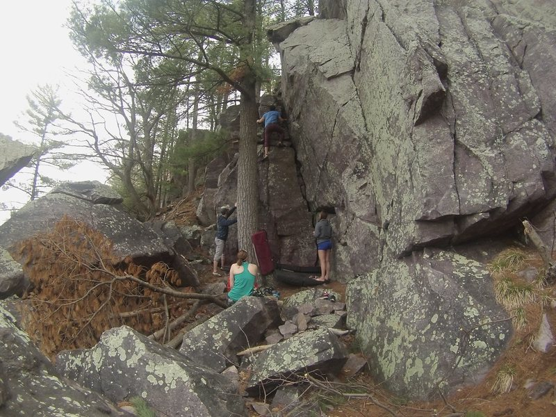 Rock Climbing Photo: Bout to top out