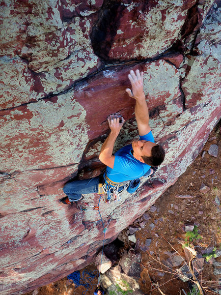 Nate Erickson in the crux on Happy Hunting Grounds. April, 2015.