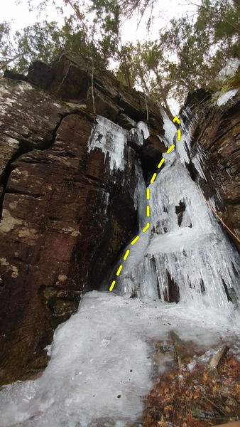 "Rock Climbing Photo: ""Subtraction Gully"" (WI3) and the start ..."