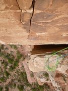 Rock Climbing Photo: Looking down the finger crack on P4, with the Sage...