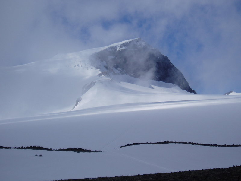 Galdhopiggen (8100 ft) from the Styggebreen Glacier