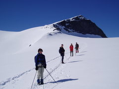 Rock Climbing Photo: Crossing the Styggebreen Glacier, summit is to the...