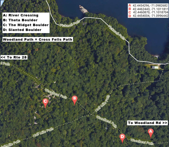 The locations of boulders for your consideration. It is easiest to enter from next to Quarter Mile Pond, there is no parking on Route 28 (Half Mile Trail entrance).<br> &quot;The Midget&quot; is a new boulder, routes TBA.