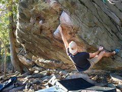 Rock Climbing Photo: Thomas sticking the difficult first move on Anti-E...