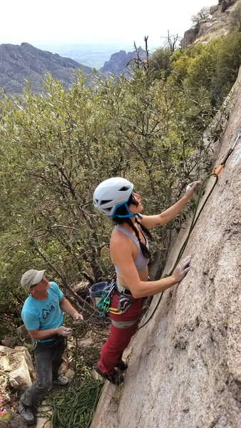 Katya Lin on the start of Loonatic Fringe. Just a couple of Minnesotans bumping into each other at a crag and having a great afternoon.
