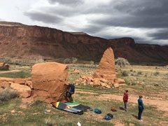 Rock Climbing Photo: Bag at the start of Wreck Yo Self's FA.