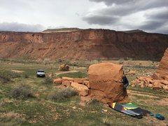 Rock Climbing Photo: Bag moving through the crux move.