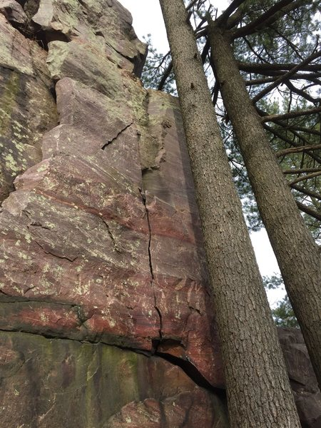 "Looking at the route from the approach. The ""Hole"" in the wall is around the corner to the right. Don't lean on the tree. Follow small diagonal crack on right side(cant be seen in this picture) to ledge then ledge to top. Remember don't lean on the tree!"