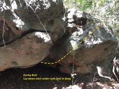 Rock Climbing Photo: Start way under boulder at a laying position.  Mov...