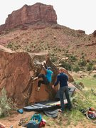 Rock Climbing Photo: The middle of the problem, matched on the ledge be...