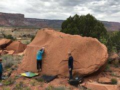 Rock Climbing Photo: Moving onto the massive rail 6-7 feet up.