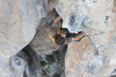 Rock Climbing Photo: Zach finishing up the tufa. Photo: Ben Crawford
