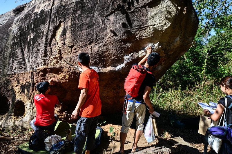 Singaporean team at T-Rex boulder