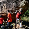 Singaporean team at T-Rex boulder