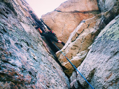 Rock Climbing Photo: Christian Baird about to enter the Chimney on Up D...