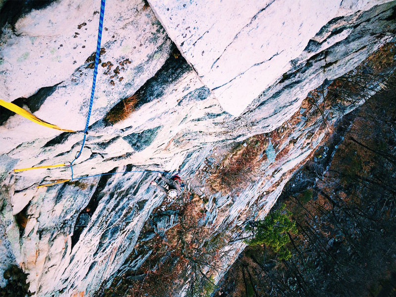 Chris Gregory coming up the second pitch of The Last Will Be First.