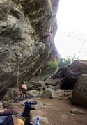 Rock Climbing Photo: Resting and chalking up near bolt 4 on Power.