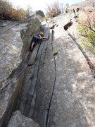 Rock Climbing Photo: Armando Dattoli on the 3rd pitch of Las Dalias.  P...