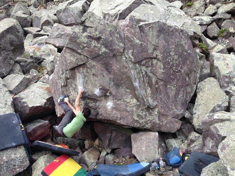 Rock Climbing Photo: Gaining the jug.  Adam Remus photo.