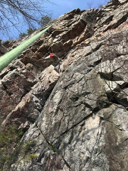 Rock Climbing Photo: Carter trying to get back on the route after falli...
