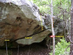 Rock Climbing Photo: Sit start at left end of crack/flake, move right a...