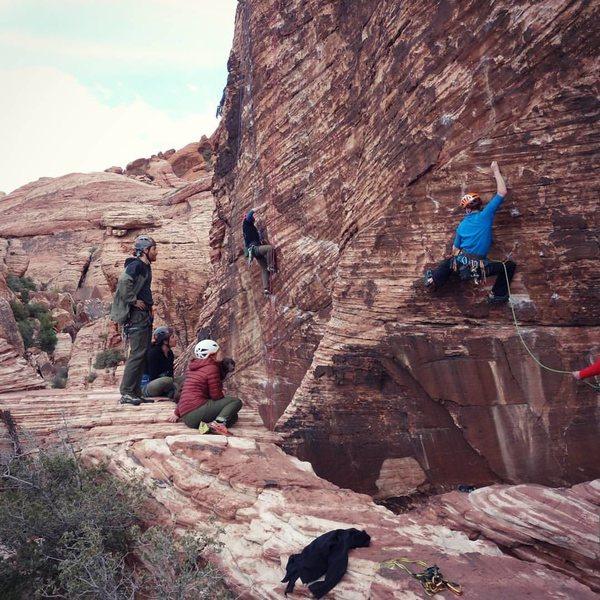 Brian and Carl climbing on Dog Wall