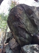 Rock Climbing Photo: The prominent arete problem at Chum Bucket. This w...