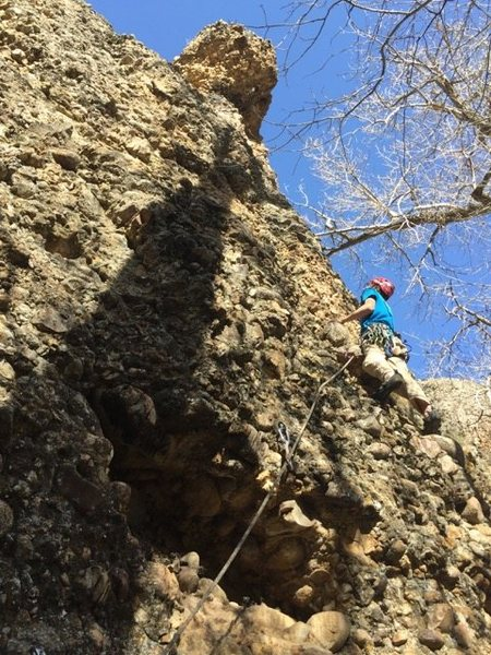 Noah Stevens on the first ascent of Guano Tempura. He has just climbed past the crux at the pod.