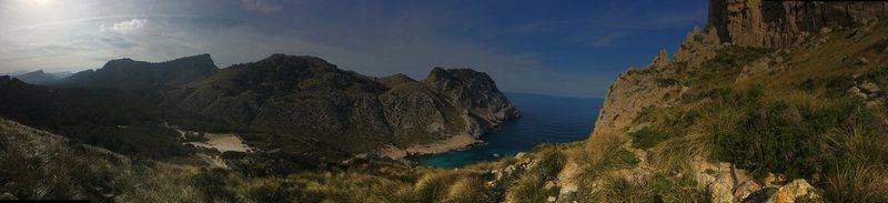 Panorama of the view from the crag....without a doubt, the prettiest crag we visited in Mallorca.