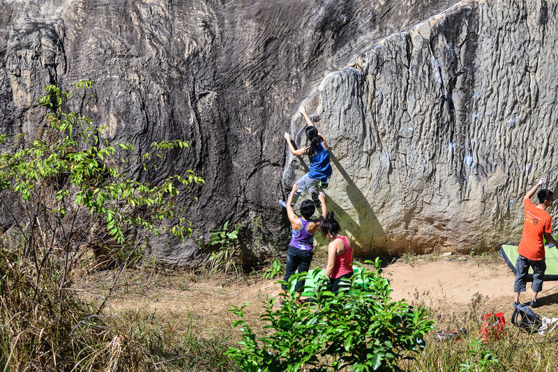 Mean Puntarika on Moby Dick boulder during Khon Kaen bouldering Festival