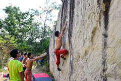 Rock Climbing Photo: Moby Dick boulder has a lot of small crimp on its ...